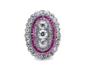 Antique Edwardian 2.10ct Diamond and Ruby Cluster Ring