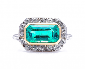 Antique Edwardian Colombian Emerald Diamond Ring
