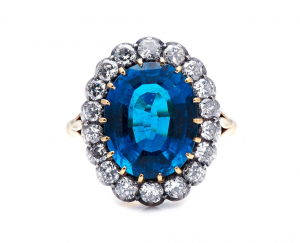 Antique Edwardian Indicolite Tourmaline and Diamond Cluster Ring