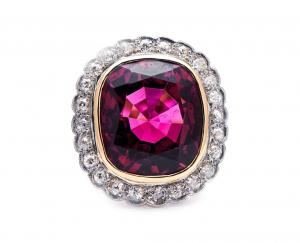 Antique Edwardian Rubellite Tourmaline and Diamond Ring