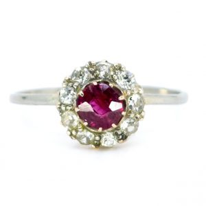 Antique Edwardian Ruby and Old Mine Cut Diamond Ring