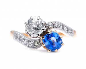 Antique Edwardian Sapphire Diamond 'Toi et Moi' Ring