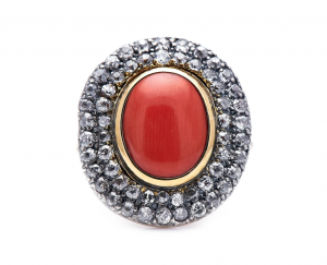 Antique Georgian Coral and Diamond Cluster Ring