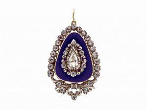 Antique Georgian Rose Cut Diamond Blue Enamel Pendant