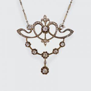 Antique Victorian 1.15ct Diamond Pendant Necklace