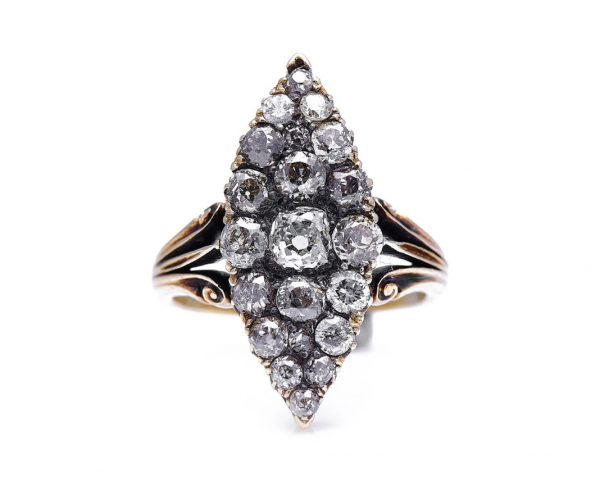 Antique Victorian 1.30ct Old Cut Diamond Navette Cluster Ring
