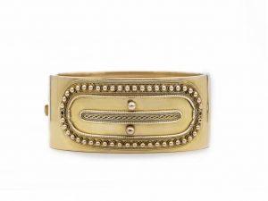 Antique Victorian Etruscan Revival Gold Bangle Bracelet