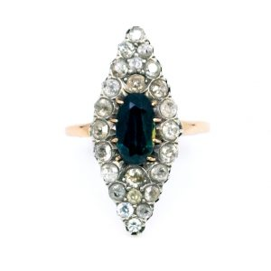Antique Victorian Sapphire Old Mine Cut Diamond Navette Ring