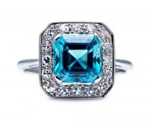 Art Deco Antique Blue Zircon and Diamond Ring