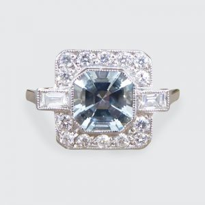 Art Deco Style 0.80ct Aquamarine and Diamond Cluster Ring