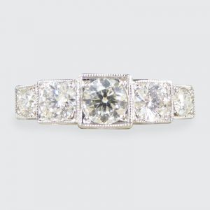 Art Deco Style 0.85ct Diamond Five Stone Platinum Ring