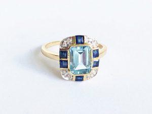 Art Deco Style Blue Topaz Sapphire Diamond Ring