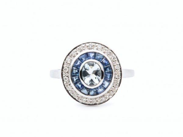 Art Deco Style Blue Topaz Sapphire Diamond Target Ring