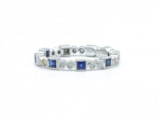 Carré Cut Sapphire and Brilliant Cut Diamond Eternity