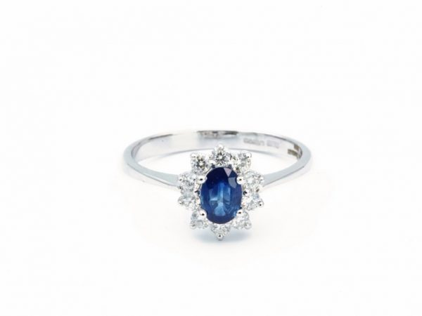 Classic Oval Sapphire and Diamond Cluster Ring