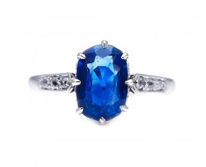 Edwardian Antique 2.20ct Burmese Sapphire Diamond Ring