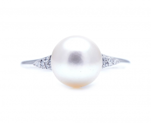 Edwardian Antique Natural Pearl and Diamond Ring