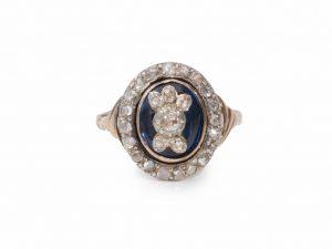Georgian Antique Rose Cut Diamond Blue Glass Ring