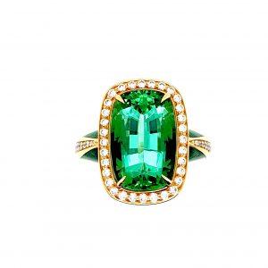 Green Tourmaline Diamond and Enamel Ring