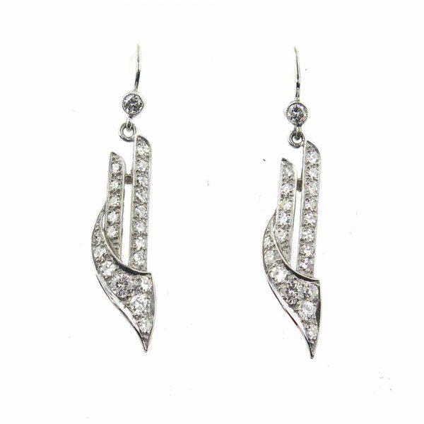 Art Deco diamond earrings drop antique platinum 1920 1930