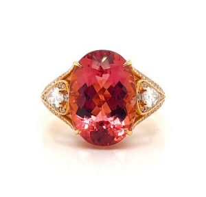 Imperial Topaz and Pear Cut Diamond Ring