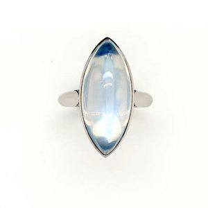 Modern 15.57ct Moonstone and Diamond Ring