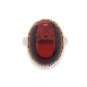 Modern 19.57ct Garnet and Diamond 18ct Rose Gold Ring