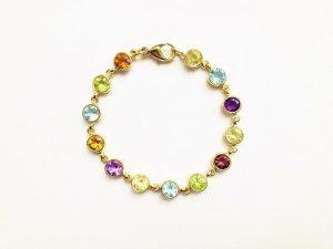 Modern Gemstone Set Gold Bracelet