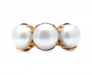 Victorian Antique Natural Pearl Three Stone Ring