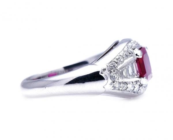 Vintage 1.30ct Burmese Ruby Diamond Ring