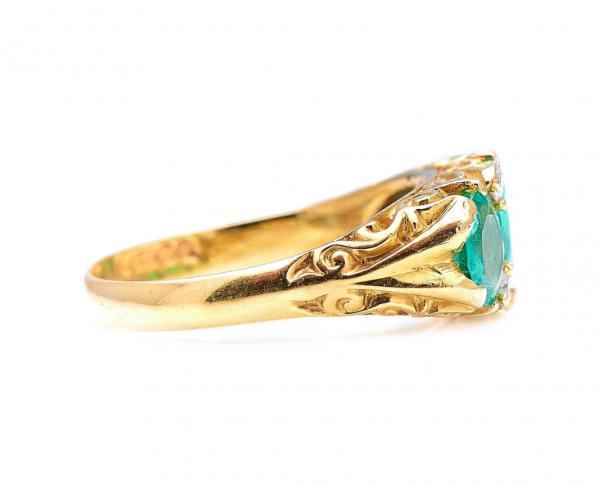 Vintage 1.50ct Colombian Emerald Diamond Three Stone Ring