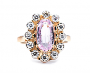 Vintage 1.70ct Pink Topaz and Diamond Cluster Ring