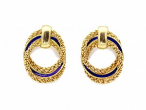 Vintage 18ct Gold and Blue Enamel Stud Earrings