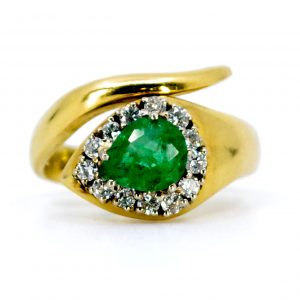 Vintage 1ct Emerald and Diamond Snake Ring