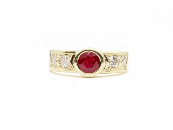 Vintage 1ct Ruby and Diamond Gold Band Ring