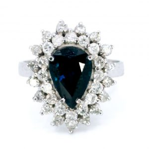 Vintage 2ct Sapphire and Diamond Pear Shaped Cluster Ring