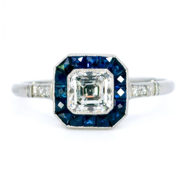 Vintage Asscher Cut Diamond And Sapphire Ring Jewellery Discovery
