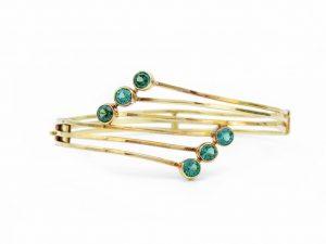 Vintage Green Tourmaline Gold Bangle Bracelet