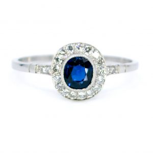 Vintage Sapphire and Diamond Cluster Platinum Ring