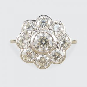 1.60ct Diamond Daisy Cluster Platinum Ring