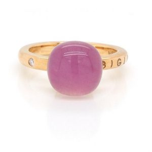 Gianfranco Bigli Cabochon Pink Quartz and 18ct Rose Gold Ring