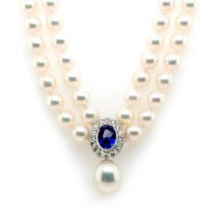 Pearl Necklace with Sapphire and Diamond Cluster Clasp South Sea Drop