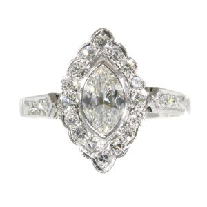 Vintage 1950s Marquise Diamond Cluster Ring, 0.85 carats