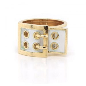 Kutchinsky White Enamel and 18ct Yellow Gold Buckle Ring