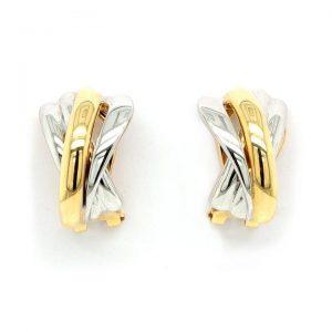 Bi Colour 18ct Gold Cross Over Half Hoop Earrings