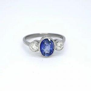 1.25ct Sapphire and Diamond Three Stone Ring
