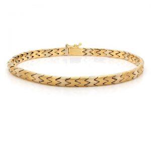 Bi Colour 18ct Gold Curb Link Bracelet