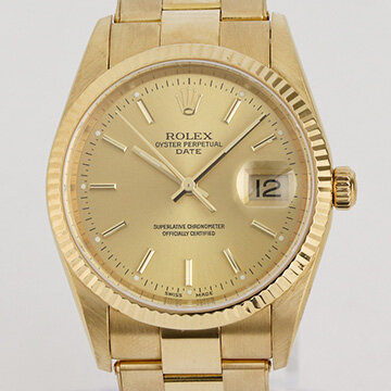 Rolex Oyster Perpetual Date 18ct Yellow Gold 34mm Automatic, Ref 15238, from 2000-2001, champagne dial, date indicator, yellow gold bezel, sapphire crystal and screw-locked crown, on an 18ct yellow gold Oyster bracelet with fold-over clasp, with Rolex box