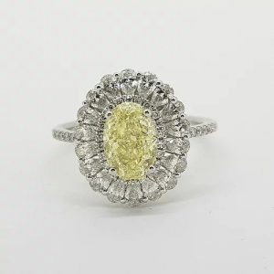 1.59ct Fancy Yellow Diamond Cluster Ring with GIA Certificate