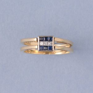 Vintage Princess Cut Diamond Reversible Ring with Sapphires or Rubies